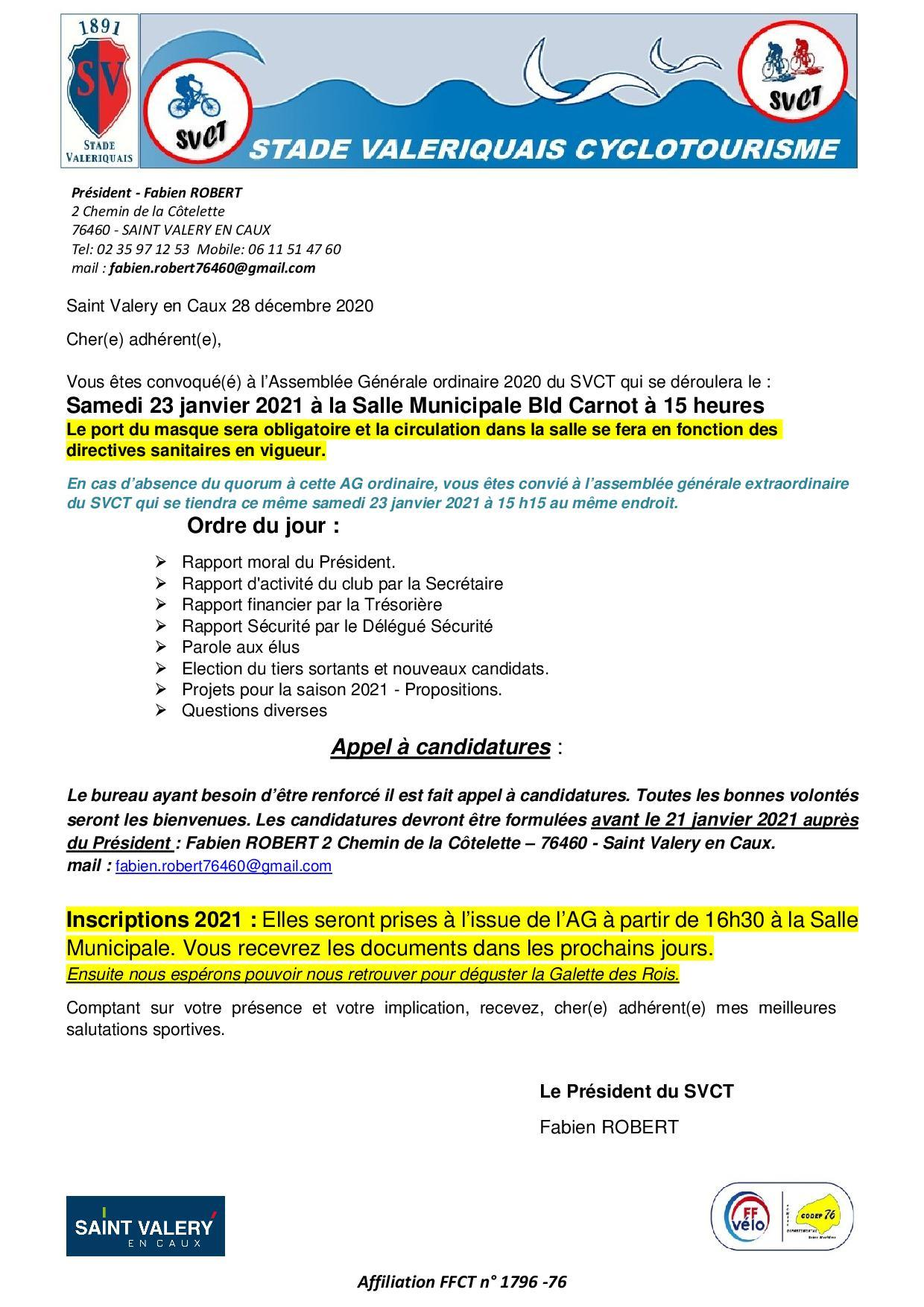Ag 2020 convocation des licencies